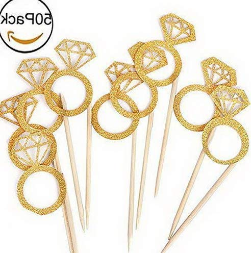 Gatton 50PCS New ding Bridal Shower Gold Glitter Diamond Ring Cupcake Cake Topper Picks for Marriage Engagement AnniversaryBirthday sParty CakeDecor   Model WDDNG - 1747   ()