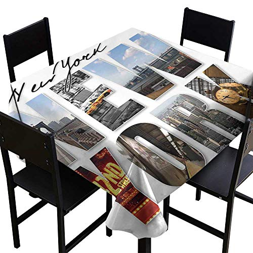 NYC Decor Decorative Textured Fabric Tablecloth New York City Themed Collage Featuring with Different Areas of the Big Apple Manhattan Scenery Waterproof/Oil-Proof/Spill-Proof Tabletop -