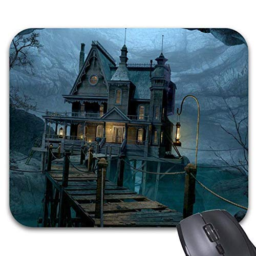 Mousepad Happy Halloween Cozy Haunted House Mouse Mat Non-Slip Rubber(7.18.7 Inches)