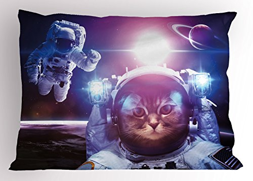 Ambesonne Space Cat Pillow Sham, Astronauts in Nebula Galaxy with Eclipse in Saturn Planets Image, Decorative Standard Queen Size Printed Pillowcase, 30