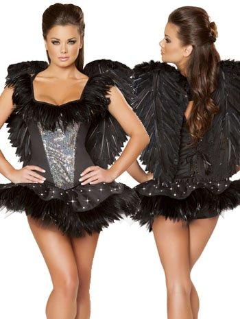 Sexy Black Swan Adult Costume - Large (Black Swan Ballerina Halloween Costume)