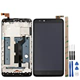 for ZTE Zmax Pro Z981 LCD Touch Screen Digitizer Full Assembly Broken Screen Replacement Parts with Small Kits - Black (Z981 with Frame)