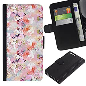 Graphic Case / Wallet Funda Cuero - Flowers Spring White Pink - Apple iPhone 6 PLUS 5.5