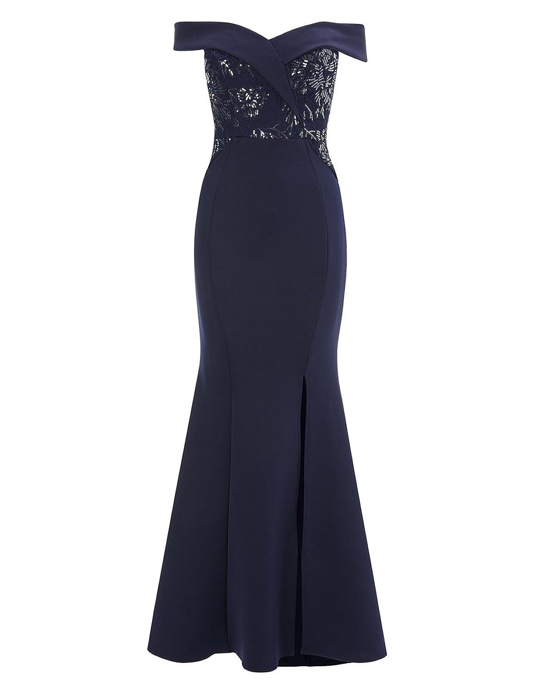 LIPSY Womens Petite Sequin Lace Bardot Maxi Dress Blue US 4 (UK 8) at Amazon Womens Clothing store:
