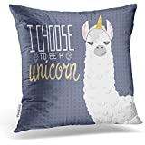 Emvency Throw Pillow Covers Cute Cartoon Lama Alpaca Unicorn Hornpolka Dot Hand Drawn Lettering Decor Pillowcases Polyester 20 X 20 Inch Square Hidden Zipper Home Cushion Decorative Pillowcase