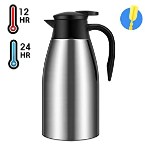 68oz Coffee Carafe Airpot Insulated Coffee Thermos Urn Stainless Steel Vacuum Thermal Pot Flask for Coffee, Hot Water, Tea, Hot Beverage - Keep 12 Hours Hot, 24 Hours Cold