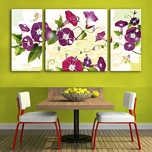 3 Panel Canvas Art Wall Clock for Home Indoor Decor Frameless Painting Flower Print On Canvas The Pictures,Ready to Hang(Size:40×80CM×2+80×80CM×1) by HSRG (Image #2)