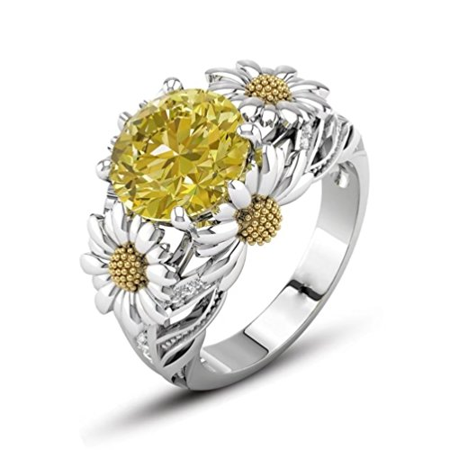 Stylish Two Tone Wedding Band (FENDINA Statement Cocktail Ring Dainty Sunflower Filigree Created Yellow Citrine Topaz Gemstone Rings White Gold Plated Two-tone Eternity Wedding Ring (7))