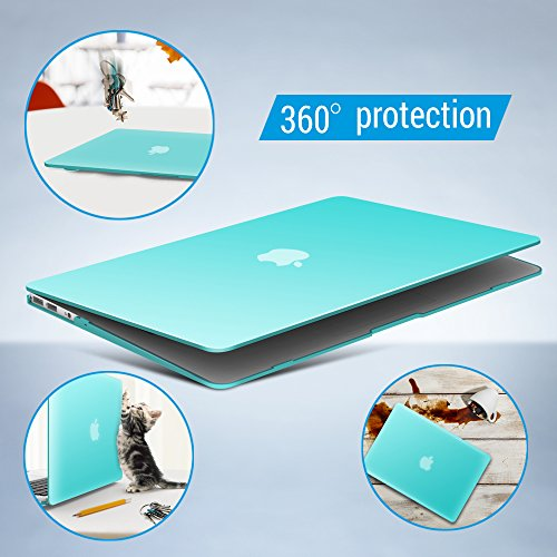 iBenzer Basic Soft-Touch Series Plastic Hard Case, Keyboard Cover, Screen Protector for Apple Macbook Air 13-inch 13'' A1369/1466, Aqua by iBenzer (Image #5)