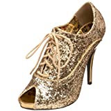 Pleaser Women's Wink 01 Peep Toe Glitter Oxford Pump,Gold Glitter,10 M US