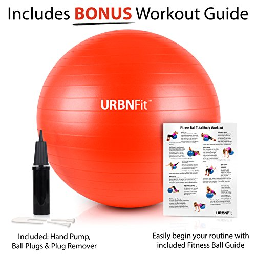 URBNFit Exercise Ball (Multiple Sizes) for Fitness, Stability, Balance & Yoga - Workout Guide & Quick Pump Included - Anti Burst Professional Quality Design (Red, 55CM) by  (Image #3)