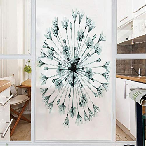 Decorative Window Film,No Glue Frosted Privacy Film,Stained Glass Door Film,Pattern of Bell Agapanthus Flower Geometric Design of Nature Inner Vision Art,for Home & Office,23.6In. by 59In Teal White