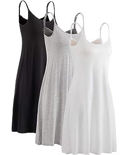 df84a1b8d6666 HONFON Womens Modal Nightdress Built in Padded Bra Adjustable Spaghetti  Strap Full Slip