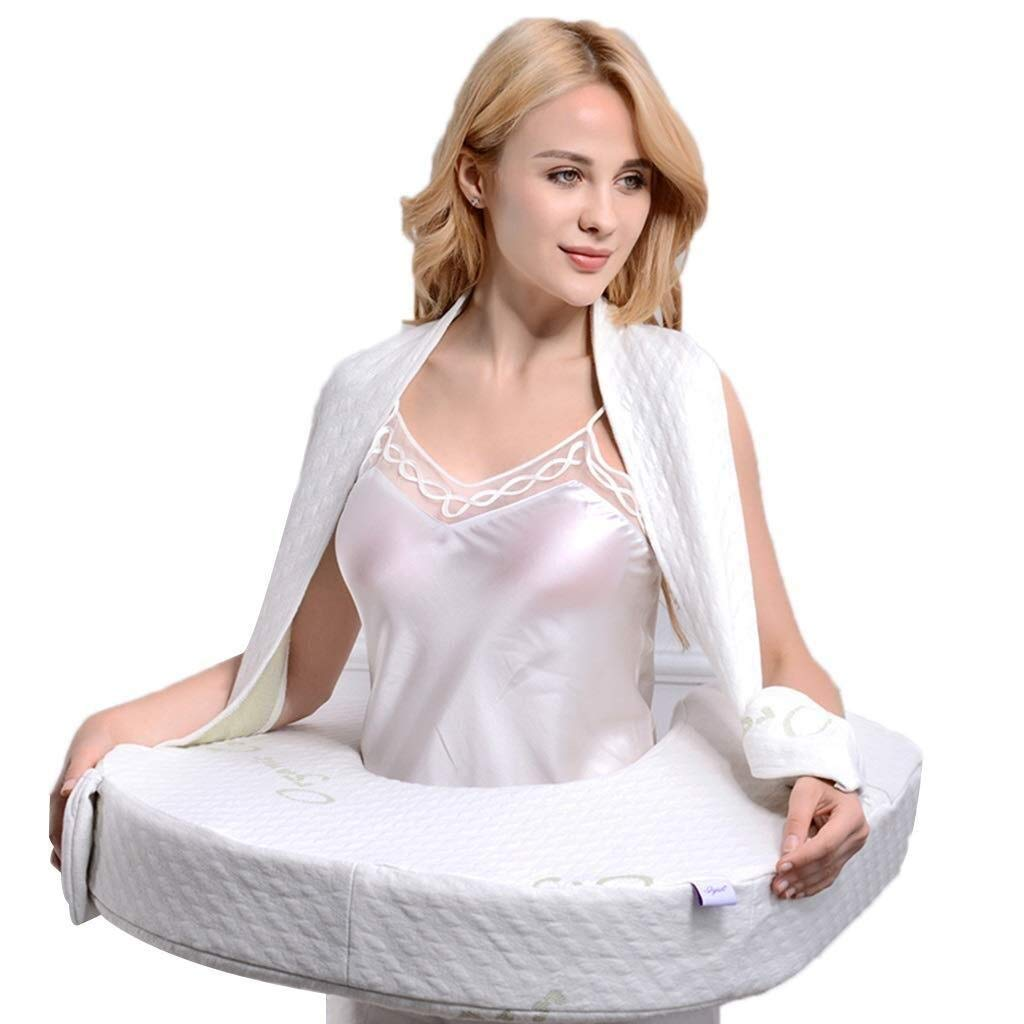 Wyyggnb Nursing Pillow, Breast Feeding Pillow Cotton Knitted Cover Maternity Pregnancy Support Pillow Multi-Functional Baby Cushion (Color : White) by Wyyggnb