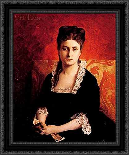 Portrait de Femme 20x23 Black Ornate Wood Framed Canvas Art by Laurens, Jean Paul