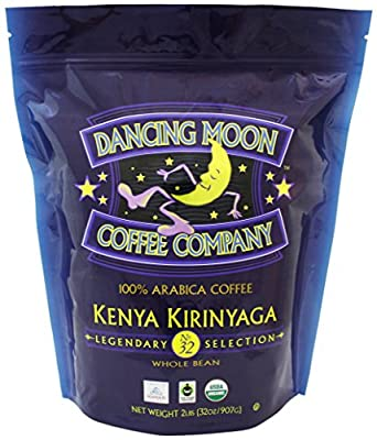 Dancing Moon Kenya Kirinyaga Whole Bean Organic Fair Trade Coffee, 2 lbs.