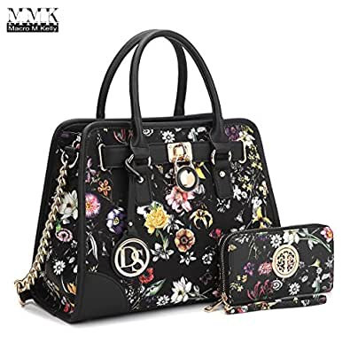 MMK collection Fashion Bamboo handle Handbag with Free wallet set for Women~Signature fashion Designer Purse~ Beautiful Designer Purse & Women Satchel Purse (2022/168) (02-6892W-BLACK/FLOWER)