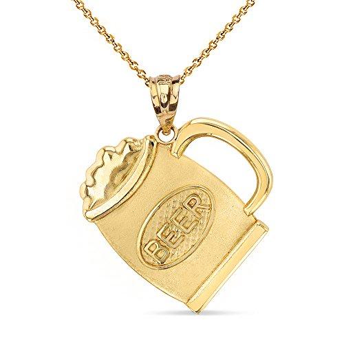 (Fashion 14k Yellow Gold Beer Mug Alcohol Jug Charm Pendant Necklace, 20