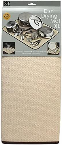 S&T 405100 Microfiber Dish Drying Mat, X-Large, 18 by 24-Inch, Cream