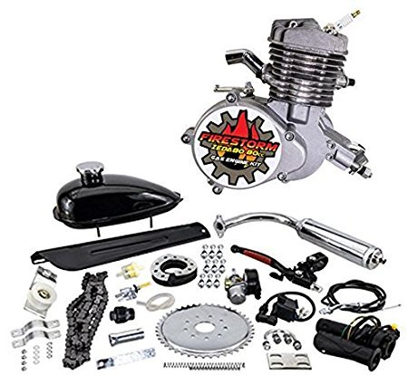 Zeda 80 Complete 80cc Bicycle Engine Kit - Firestorm Edition (Silver,44 Tooth) ()