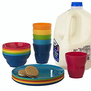 Ellie Kids Plastic Tumblers Snack Bowls \u0026 Snack Plates | 18-piece set in  sc 1 st  Amazon.com & Amazon.com | Ellie Kids Plastic Tumblers Snack Bowls \u0026 Snack ...