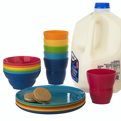 8 Ounce Room Tumbler (18pc Ellie Kids Plastic Tumblers, Snack Bowls & Snack Plates in 6 Colors)