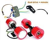 L-faster Electric Skateboard Brushless Hub Motor Kit DIY Child E-Board Electric 4-Wheel Skateboard Dual Drive Conversion Kit with Remote (Red kit)