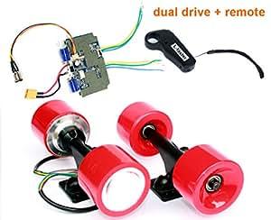 L-faster Kit de Motor de Cubo sin escobillas Monopatín Eléctrico Kit de Conversión de Disco Doble electrónico con Ruedas Eléctricas para Niño E-Board Eléctrico de 4 Ruedas (Red Kit)