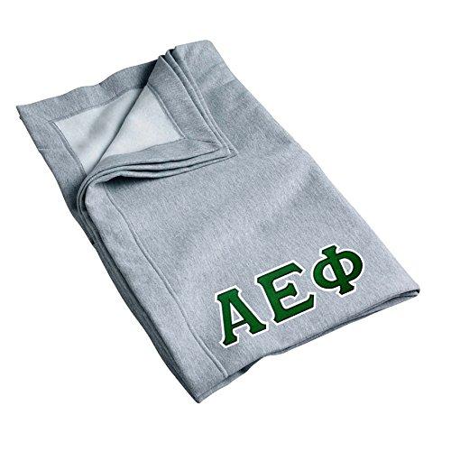 Alpha Epsilon Phi Sweatshirt Blanket with Twill Greek Letters (Grey)