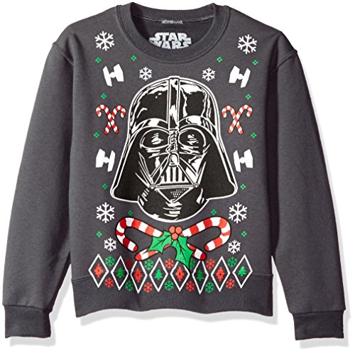 Star Wars Big Boys' Vader Candy Canes Christmas Crew Fleece Pullover, Charcoal Grey, S