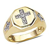 Smjewels Men's 1/7 CT Diamond Cross Design Wedding Ring In 14k Yellow Gold Fn .925