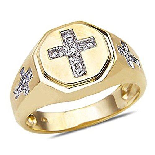 Silvercz Jewels Men's 1/7 CT Diamond Cross Design Wedding Ring In 14k Yellow Gold Fn .925 by Silvercz Jewels