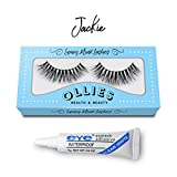 3D Artificial Hair False Eyelashes Natural Long Fluffy Thick Dramatic Volume Strip Band Eye Lashes Handmade Wispy Crosshair With Glue Adhesive (Jackie)