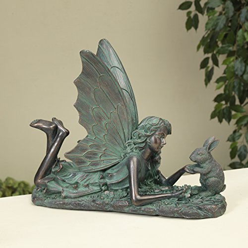 Rustic Patina Woodland Fairy Figurine with Bunny Garden Statue - Outdoor Decoration (Resin Statues Garden Fairy)