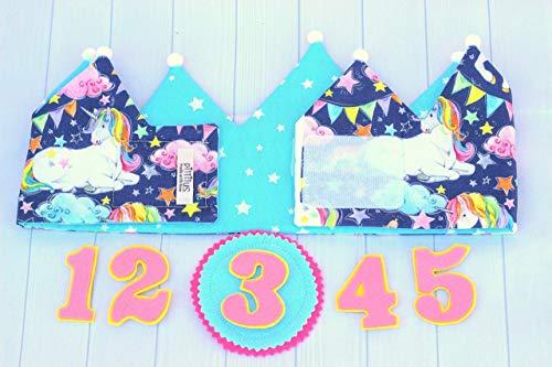 Corona cumpleaños niña unicornio, corona de tela reversible ...