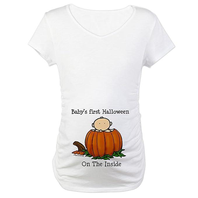 f39174d6357c4 CafePress First Halloween inside (lt) Maternity T-Shirt Cotton Maternity T- shirt