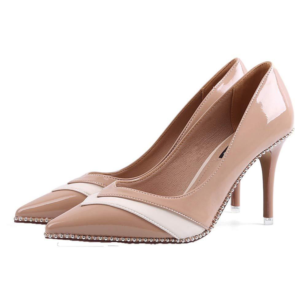 FLYRCX Europäische Mode wies Temperament High Heels Einzelne Schuhe Wulstige Flache Mund schwarz sexy Arbeit Schuhe