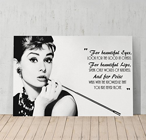 Audrey Hepburn Breakfast at Tiffany`s Quotes Canvas Print Decorative Art Modern Wall Décor Artwork Wrapped Wood Stretcher Bars - Ready to Hang - %100 Handmade in the (Audrey Hepburn Decor)