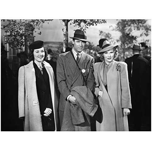 [Cary Grant 8 inch x 10 inch PHOTOGRAPH Grant in Dark Coloured Pinstriped Suit Hat with Two Ladies in Skirt Suits Hats Mid Black and White] (Pinstriped Skirt Suit)