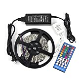 EPBOWPT 16.4ft 300LEDs RGBW LED Strip Light, Non-Waterproof 5050 SMD RGB+Cool White Color Changing Flexible LED Rope Light + 40 Keys IR Remote Controller + 12V 5A Power Supply for Room Lighting
