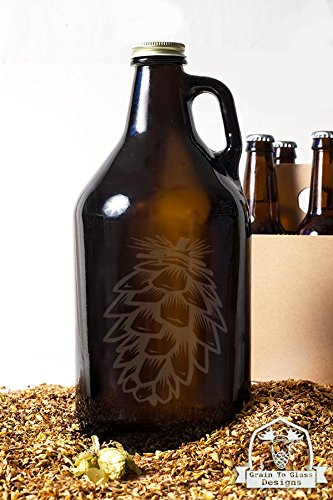 Pinecone Beer Growler Gift (Glassware Etched With Pine Cones compare prices)