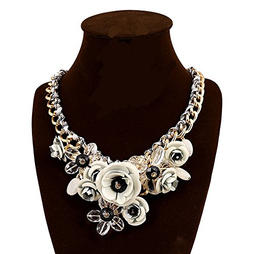 White Rose Flower Necklace - JewelryLove Women's Rose Acrylic Crystal Flower Choker Statement Necklaces Pendants Collier Femme (White)