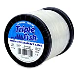 Triple Fish Mono Line, 200 lb (90.7 kg) test, .059 in (1.50 mm) diam, Clear, 1 lb (0.45 kg) Spool, 245 yd (224 m) For Sale