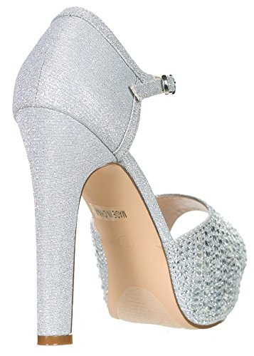 DeBlossom Blossom Womens Vice-126-233 Bridal Formal Evening Party Ankle Strap High Heel Peep Toe Glitter Sandal Silver Sparkle VSG5g8q84