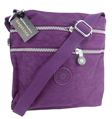 Womens Designer Style Small Light Weight Fabric Multi Pocket Cross Body Messenger Bag (Dark Purple)
