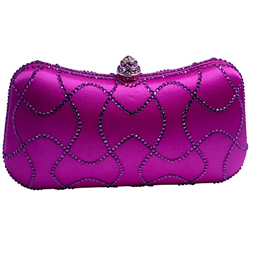 DMIX Minaudiere Crystal Box Clutch Rhinestone Evening Purse Hot ()