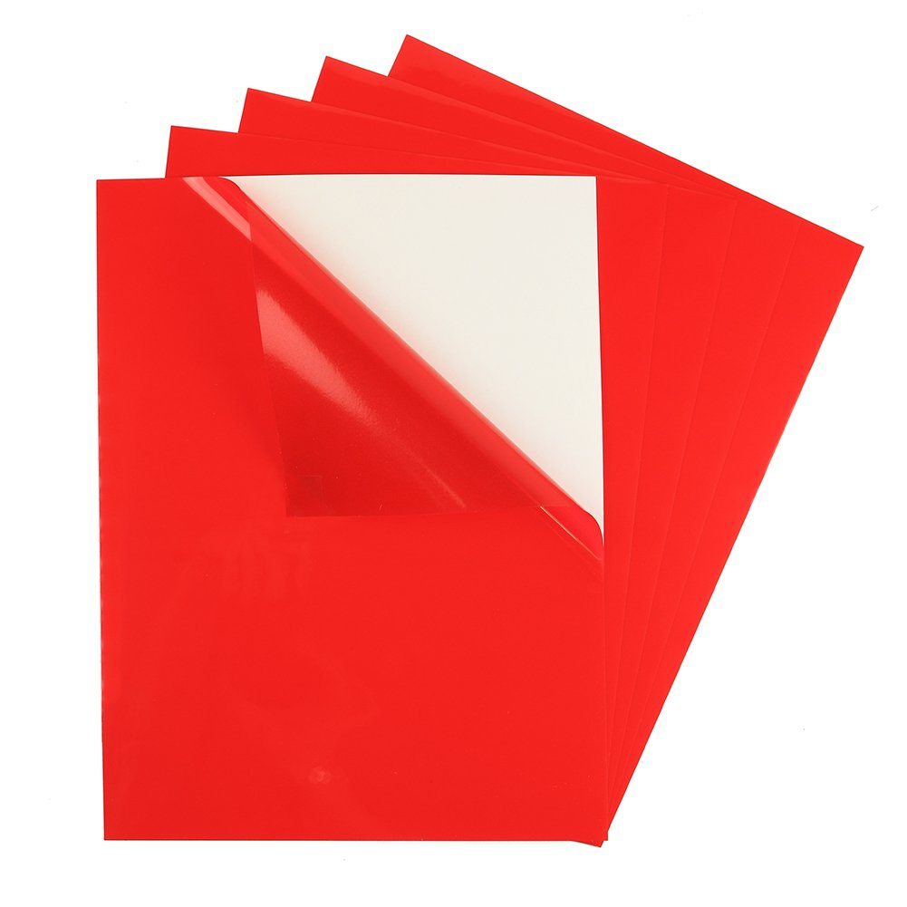 5 Pack - Adhesive Backed Transparent Rigid Vinyl Film, Tinted Colored Lighting Filter Plastic Sheet Self Stick Sticker, Christmas Holiday Decorations, 9'' x 12'', Color Red