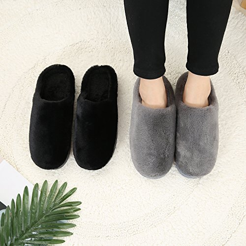 Indoor Washable Women Slippers Closed Men Black For Cotton Slipper Lightweight Toe Ultra Grey Homoseal Black qvHAwFxIx