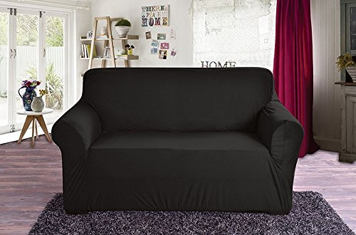 ection Luxury Soft Furniture Jersey Stretch SLIPCOVER, Sofa Black ()