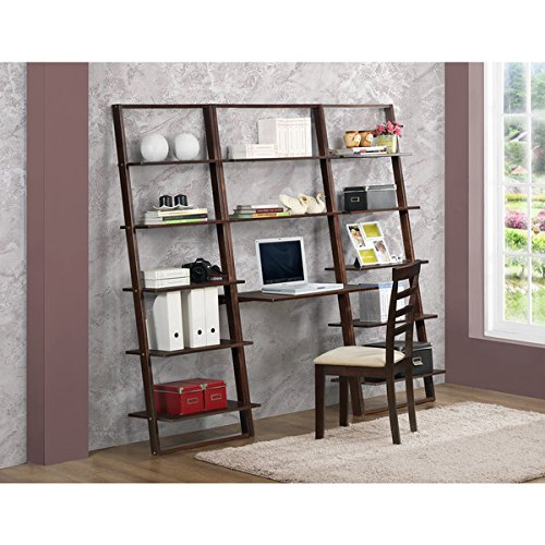 - Arlington Cappucino Wood Desk with 2 Wall Bookcases
